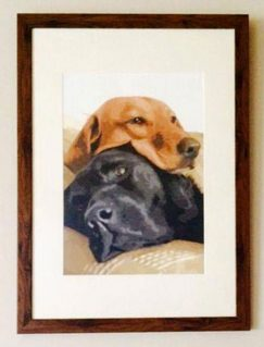 our customer painted her two labradors using our unique paint by numbers kits