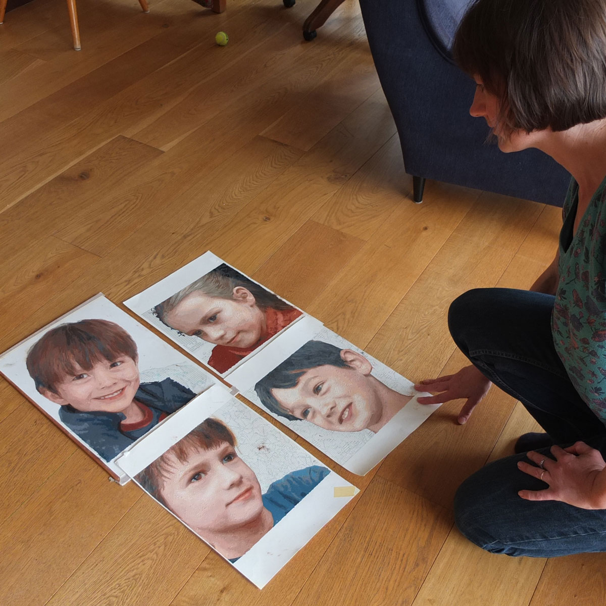 family portraits painted from photos using personalised painting by numbers kits