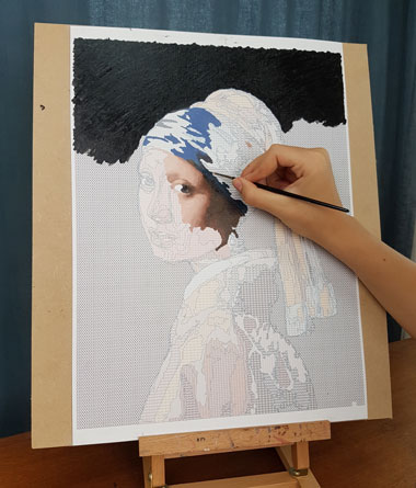 Vermeer 'girl with a pearl earring' painting by numbers being painted