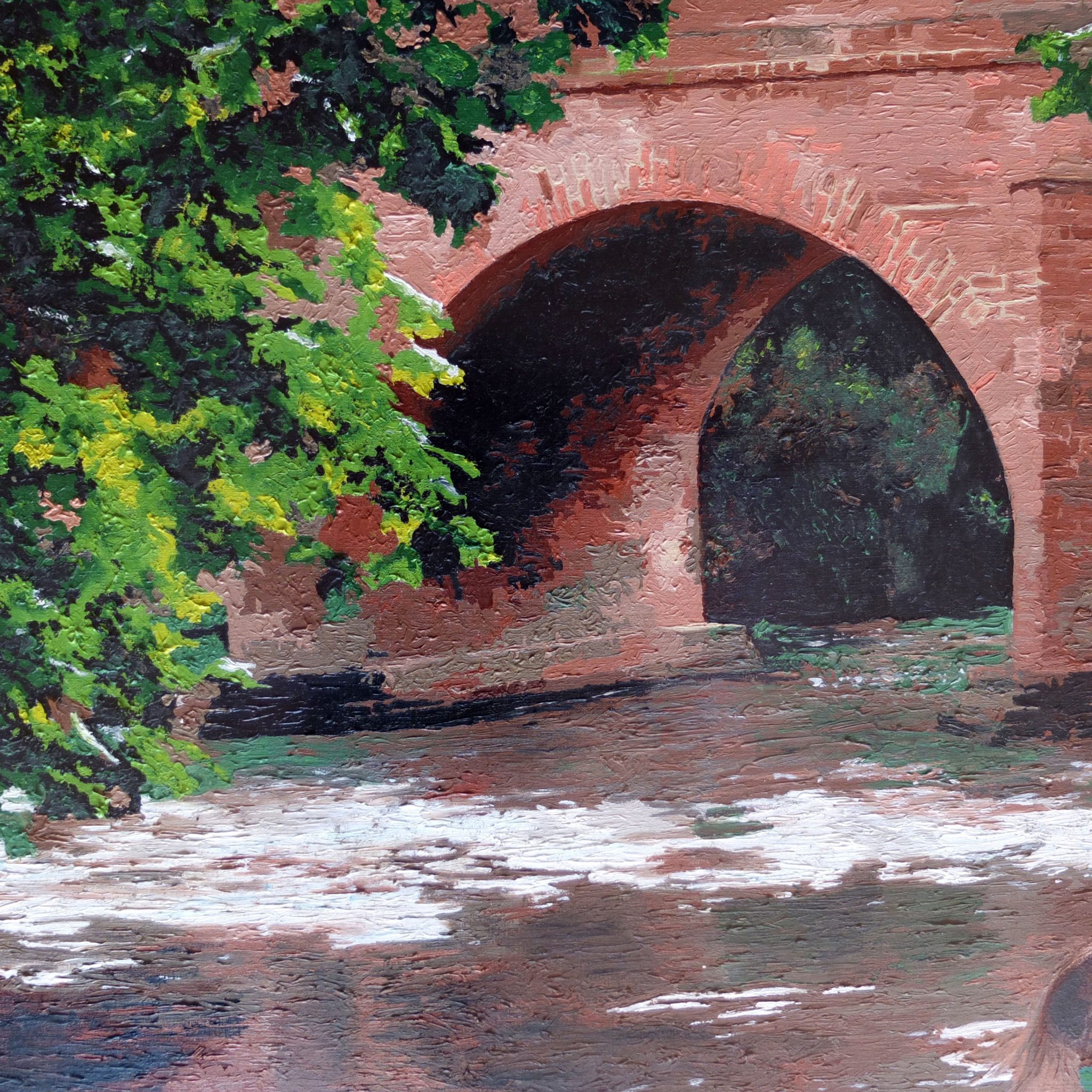 river mole in Brockham surrey painted with a personalised painting by numbers from a photo