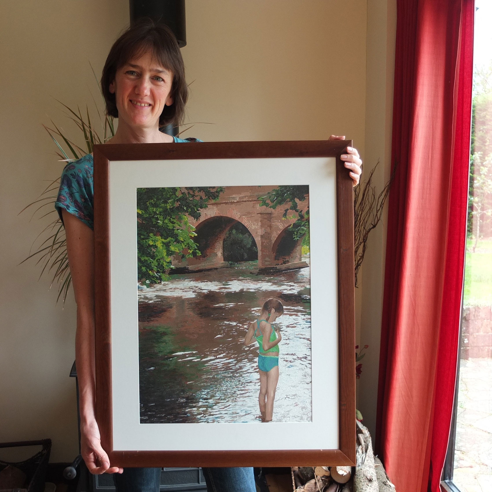 personalised painting by numbers from a photo in oils of a girl paddling in the river mole in brockham surrey