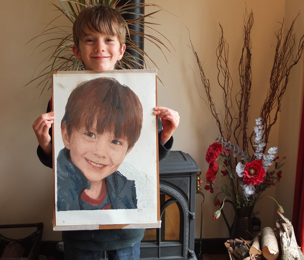 young boy's portrait painted by numbers