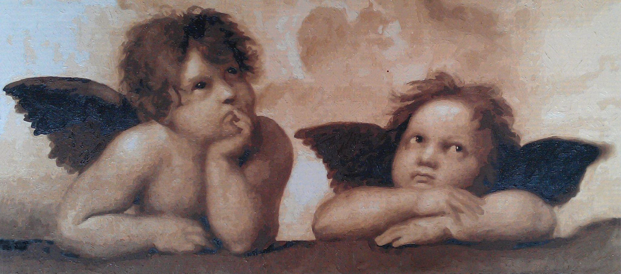 Raphael Cherubs Oil Painting Kits two cherubs