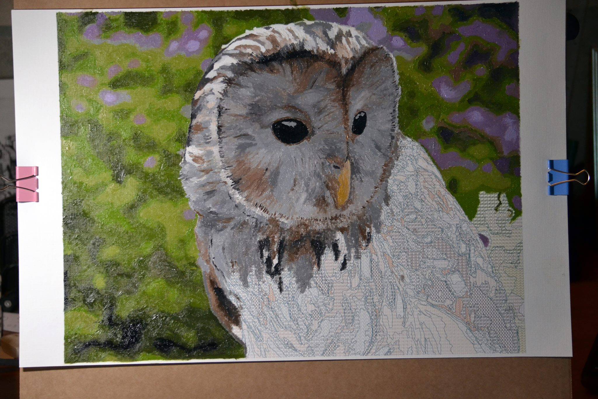 painting by numbers of owl in progress