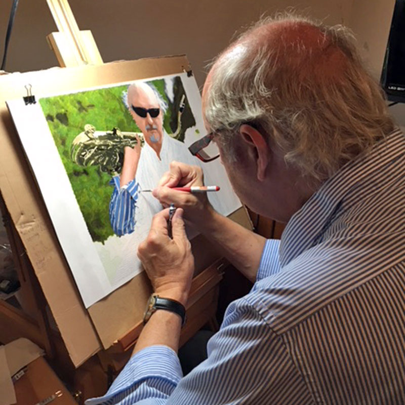A photo of a man painting a painting by numbers for adults self portrait