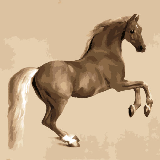 Painting by numbers of George stubbs Whistlejacket in sepia shades